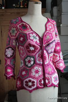 I crochet this for my self with african flower pieces. No pattern.                                                                                                                                                     More