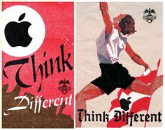 """""""Something Different"""", Fiodor Sumkin. Interesting correlation between apple campaign and socialist poster style. I appreciate it as a sketch, not finished piece."""