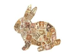 Chocolate Bunny Postage Stamp Collage