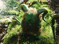 Green Tailed Horned  Faun OOAK Handmade by ToysFromVili on Etsy