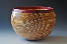 "Baltic Birch Plywood with Segmented Purple Heart Rim ""Wavy"" Bowl by John Beaver, CA"