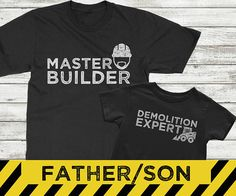 Father son matching shirts, Master Builder and Demolition Expert, construction shirts for boys, father son matching shirt sets, daddy and me