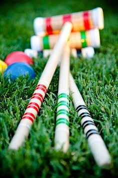 The couple provided croquet gear to help their guests work up an appetite.