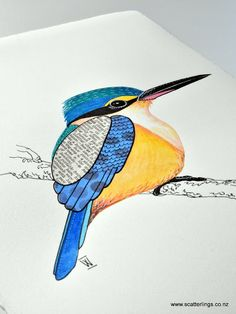 Sacred Kingfisher painting. Watercolour, collage and ink on paper. New Zealand art.