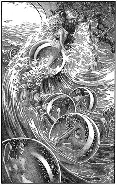 Virgil Finlay, Illustration for 'The Ship of Ishtar' by A. Merritt, published 1949