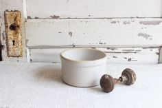 Vintage Small White Round Ceramic Stoneware Crock by pickedhome on Etsy https://www.etsy.com/listing/244454453/vintage-small-white-round-ceramic