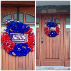 NY Giants wreath! #diy hopefully it brings them good luck this season!
