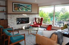 """I'm not a fan of having a """"theme house,"""" making the furniture all match the architecture. But there are tons of mid-century ramblers in our area. This is a great idea for one of those ugly, chunky fireplaces."""