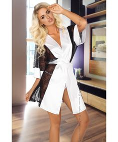 Shop online white and black satin half sleeve robe and g-string sexy nightwear set with floral lace mesh panel inserts on sides and sleeves. Sexy Lingerie, White Lingerie, Satin Dressing Gown, Satin Teddy, Bh Set, Beauty Night, Boutique Lingerie, Blonde Beauty, Strings