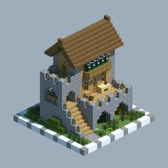 A stone-base house - Minecraft - Explore the best and the special ideas about Lego Minecraft Casa Medieval Minecraft, Easy Minecraft Houses, Minecraft Castle, Minecraft Plans, Amazing Minecraft, Minecraft Decorations, Minecraft Room, Minecraft House Designs, Minecraft Survival