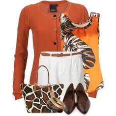 Orange Giraffe, created by melindatg on Polyvore