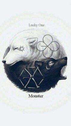 62 ideas for wall paper kpop exo fanart Wolf Wallpaper, Animal Wallpaper, Cool Wallpapers Wolf, Ying Yang Wallpaper, Exo Lucky One, Ying Y Yang, Yin Yang Wolf, Yin Yang Art, Exo Monster