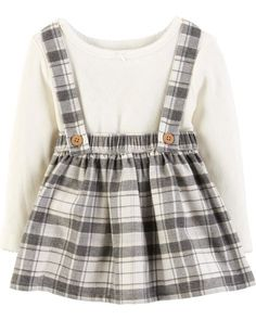 8571082edc6 Baby Girl 2-Piece Bodysuit  amp  Plaid Suspender Skirt Set from Carters.com