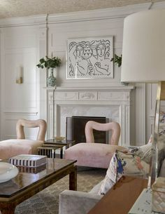 ... unique blush chairs for formal living room | tortoise and brass coffee table | design by jenkins interiors | blueprinstore.com