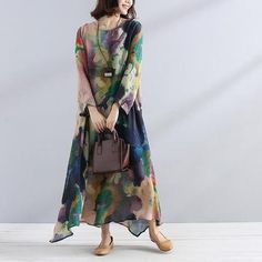 Find casual loose cotton linen clothes, shop high quality plus size pants, loose long linen maxi dresses, fashion loose sweaters, jumpsuits from buykud.com. Linen Shirt Dress, Linen Dresses, Loose Dresses, Casual Dresses, Print Chiffon, Chiffon Fabric, Linen Fabric, Dresser, Boutique Maxi Dresses