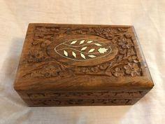 "Vintage Hand Carved Floral Folk Artist Wood Jewelry Box W/ Inlays 6 x 4 x 2.5""    eBay"