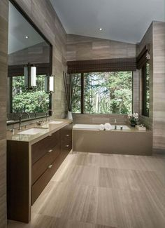 Freeman Residence by LMK Interior Design. Modern bathroom design with light colored wood flooring. Contemporary Bathroom Designs, Contemporary Interior Design, Bathroom Interior Design, Modern Bathroom, Master Bathroom, Dream Bathrooms, Beautiful Bathrooms, Modern Mountain Home, Decoration Inspiration