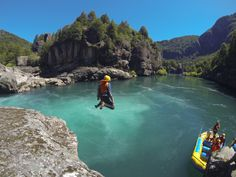 Jumping into the Futaleufu River, Patagonia, Chile, below Zeta Rapid.  Feel like a kid again with Bio Bio on the Fu! http://www.bbxrafting.com/product/chile-argentina