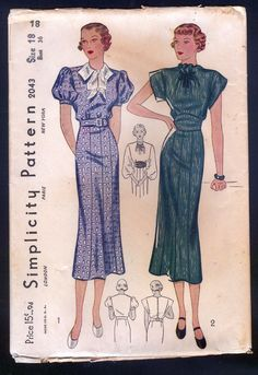 Simplicity 2043 Ladies Dress In Short Sleeve Or Sleeveless Style Sz36/39  FF sld 30+4 1bd 3/4/15