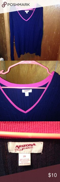 Navy blue sweater A comfy sweater, navy blue with pink detail around the collar. Worn only a few times. I have a long torso and it was too short for my liking. Please feel free to ask questions and make me an offer!! Arizona Jean Company Sweaters V-Necks
