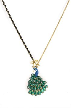 Betsey Johnson 'Asian Jungle' Peacock Pendant Necklace $50 at Nordstrom