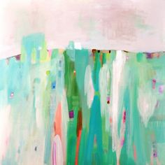 Abstract original contemporary canvas painting white, green