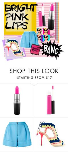 """""""bright pink lips"""" by ginafhr on Polyvore featuring beauty, Albers, Safilo, MAC Cosmetics, 3.1 Phillip Lim, Sophia Webster, Forever 21, MakeOver, Pink and colorful"""