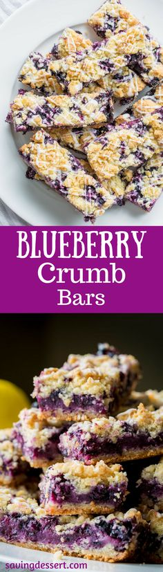 Blueberry Crumb Bars ~ there's nothing like sweet summer blueberries baked in a simple crust to excite the taste buds! This simple, easy dessert is saturated with intense blueberry flavor and hints of bright, fresh lemon. www.savingdessert.com