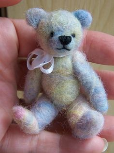 """a little 3"""" baby teddy bear jsut finished needle felting  I can needle felt and one day will have time to advance to this!"""