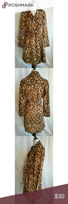 Willi Smith Size 10 Animal Print Jacket Belted Cotton,  spandex.  Dry clean.  Trench coat Willi Smith Jackets & Coats