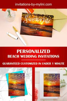 Our beach wedding invitation collections, which are remarkably easy to personalize, are professionally designed and impress with their popular beach wedding motifs. Whether magical sunsets or delicate beach wedding arbor, the colors range from golden sunsets to pale blue to warm sand tones. You can all cards customized and ordered in next to no time. Convince yourself and test it.
