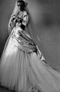 1949 White Satin + Tulle