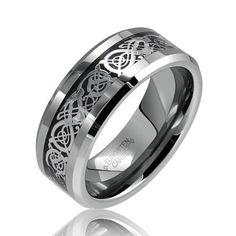 Tungsten Celtic Dragon Black Inlay Flat Comfort by ModernMintShop, $42.99 for men