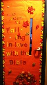 Classroom Doors minus bible plus reading. Book titles on leaves.