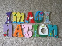 Wooden Dr. Seuss Letters for Child's Play Room or Nursery - Painted by Hand. $25.00, via Etsy.