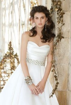Wedding Dresses - Box Pleated Satin Wedding Dress from Camille La Vie and Group USA