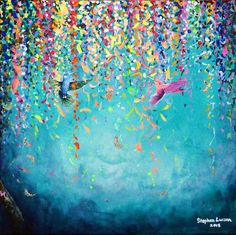 I was recently commissioned to paint a new Hummingbird painting by a customer in Virginia. After talking with her to find out what she wanted I got to work in m Bee Painting, Hummingbird Painting, Bird Artwork, Southwest Art, Abstract Canvas Art, Pictures To Paint, Flower Art, Colorful Backgrounds, Background Colour