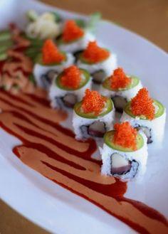 BenKay Japanese Restaurant and Sushi Bar in Portland Maine - BEST SUSHI EVER! My favorite, the Baja California roll. Yellow fin tuna, white tuna, jalapeno, avocado, tobiko & cilantro. YUMMAY!