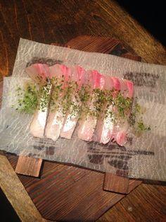 Kapachi Usuzukuri with sea salt. Sashimi appetizer @izakaya yume