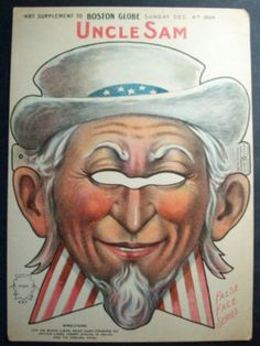 UNCLE SAM MASK Patriotic Boston Globe Paper Doll Toy (06/30/2011)