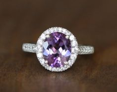 Vintage Inspired Amethyst Engagement Ring in 14k White Gold Halo Ring February Birthstone Ring Purple Gemstone Band, Size 7 (Resizable)
