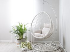 Small Swivel Chairs For Living Room Hanging Chair With Stand, Hanging Egg Chair, Hanging Beds, Swinging Chair, Bedroom Swing, Room Ideas Bedroom, Bedroom Decor, White Bedroom Chair, Rattan