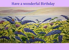 Buddleia birthday card personalised for you