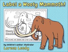 Label a Wooly Mammoth! A prehistoric printable to label with body part vocabulary. #science #kids