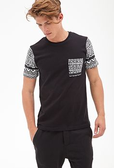 Tribal Print Pocket Tee | 21 MEN - 2000137423