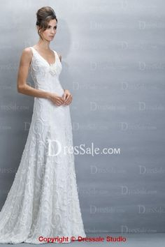 Elegant Wedding Dress UK with Pretty Pattern Applique Detail