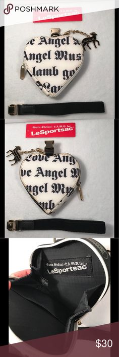 "🎀L.A.M.B. LeSportsac Heart Wristlet🎀 White Heart shaped Wristlet/wallet/coin purse with black lettering designed by Gwen Stefani. Exterior black lettering says ""Love Angel Music Baby"" & ""Where Did My Lamb Go?"" Good condition, with pre-owned wear with discoloration along exterior edges. I have not tried to clean. Interior clean. Lamb charm included. Goldtone hardware. Strap is detachable. Authentic and smokefree. Please carefully review all photos and ask any questions prior to purchase.💋…"
