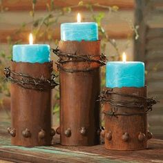 Barbed Wire Candle Holders with Candles – Set of 3 - Western Home Decor Living Room Rustic Candle Holders, Rustic Candles, Candle Set, Scented Pillar Candles, Candle Craft, Candle Holder Decor, Oil Candles, Southwest Decor, Southwestern Decorating