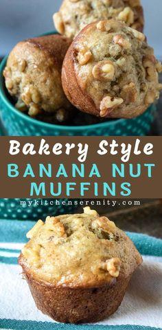 Warm, homemade banana nut muffins are always in se Banana Nut Bread, Banana Bread Recipes, Banana Recipes For Breakfast, Banana Muffins With Yogurt, Banana Walnut Muffins Moist, Healthy Banana Nut Muffins, Banana Breakfast Muffins, Banana Chocolate Chip Muffins, Banana Cupcakes
