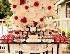 Poppy Themed Baby Shower table dessert table